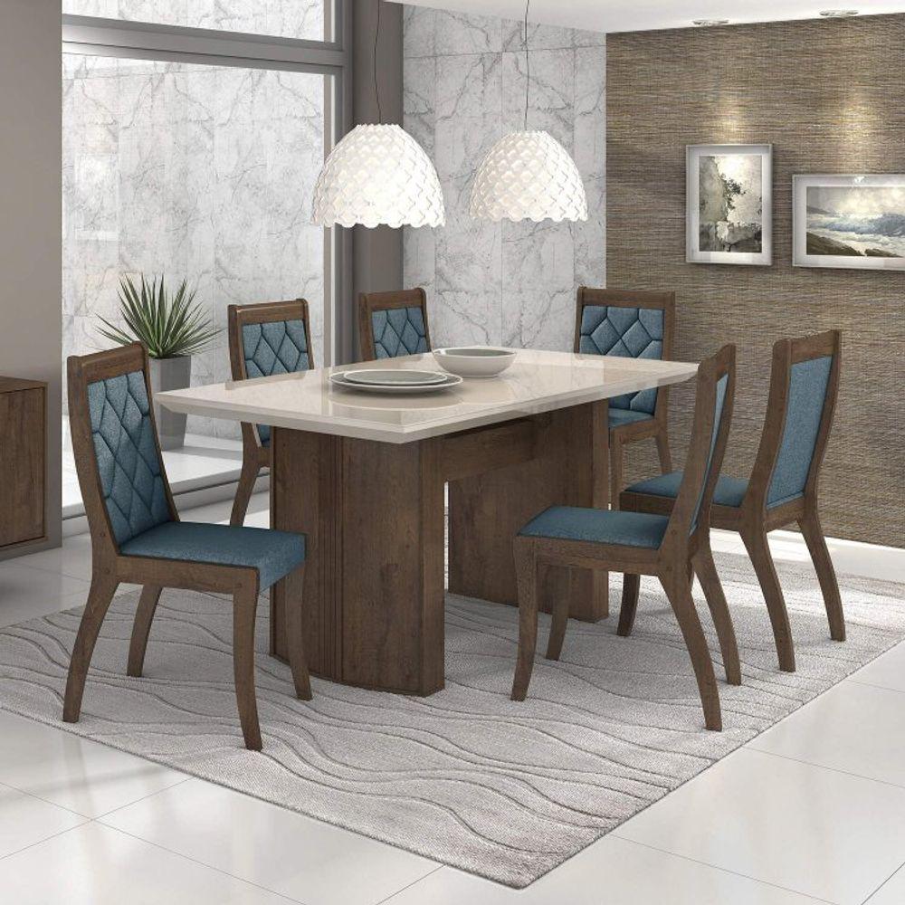 1c6831d52 Conjunto Sala de Jantar Mesa Vidro Off White 6 Cadeiras Merengue Móveis  Lopas - Rovere Soft Suede Animale Bege