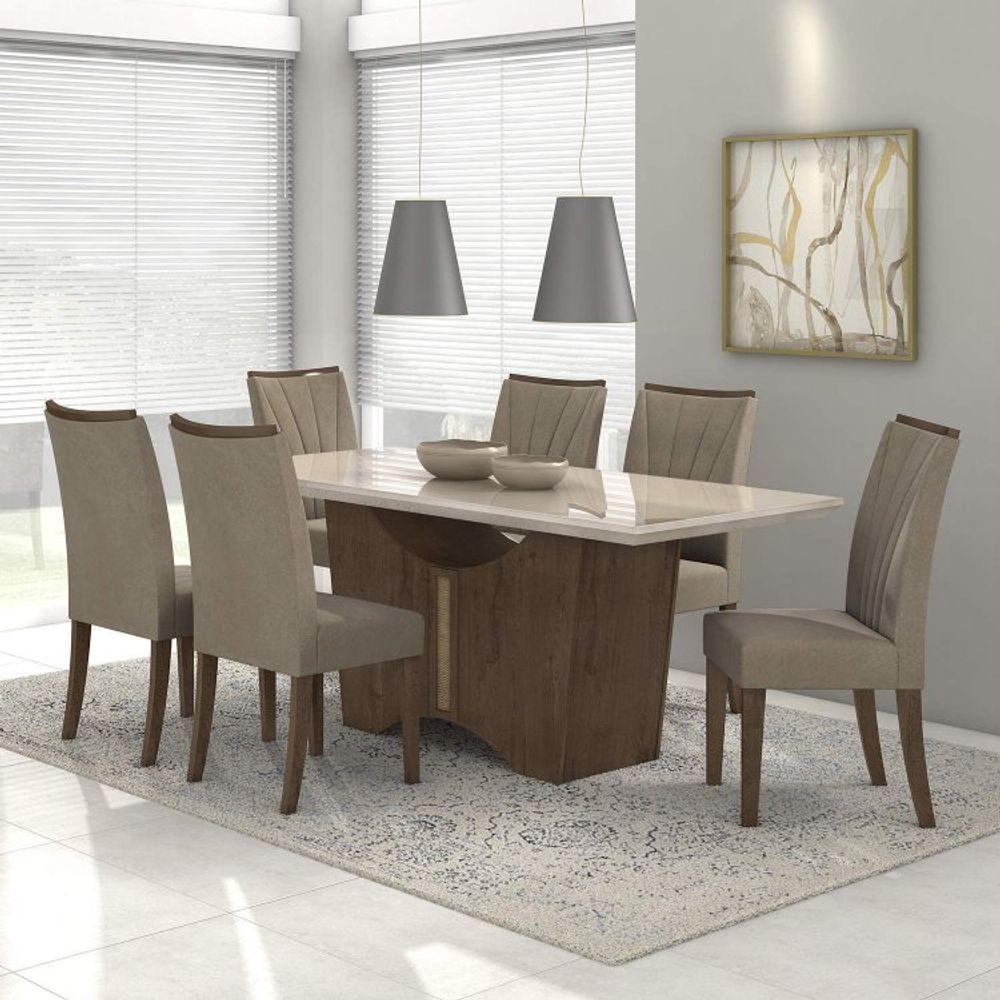 5f4a43432 Conjunto Sala de Jantar Mesa Vidro Off White Rock 6 Cadeiras Apogeu Móveis  Lopas Imbuia Soft Suede Animale Bege